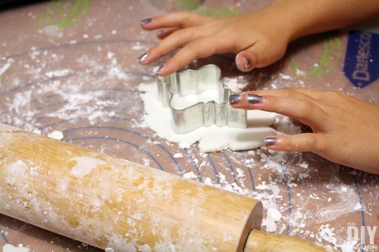 Rolling and cutting baking soda dough,
