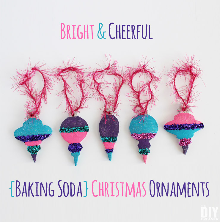 Bright and Cheerful Baking Soda Christmas Ornaments. Looking for a fun Christmas craft? Awesome! You'll love make these cute Christmas Ornaments. Check out the tutorial right here: thediydreamer.com