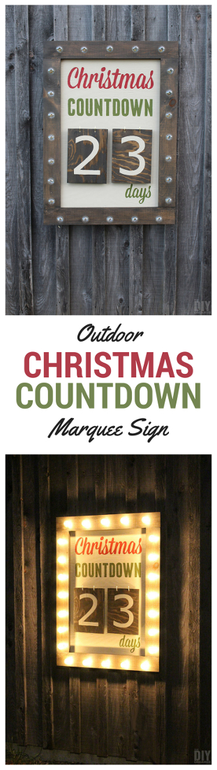 What better way to countdown to Christmas than with a Giant Outdoor Christmas Countdown Marquee Sign. Check out the tutorial to make one too! Instructions: thediydreamer.com #christmascountdown #marquee #outdoorchristmas