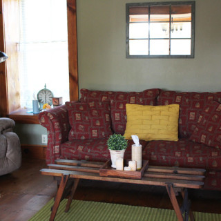 Spread Love and Share Kleenex® Care. Beautiful updated living room with yellow and green colors.