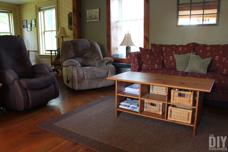 A living room in great need of a makeover.