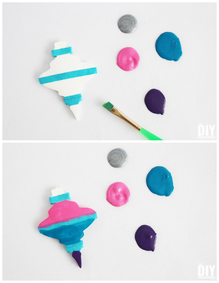 How to paint baking soda ornaments.