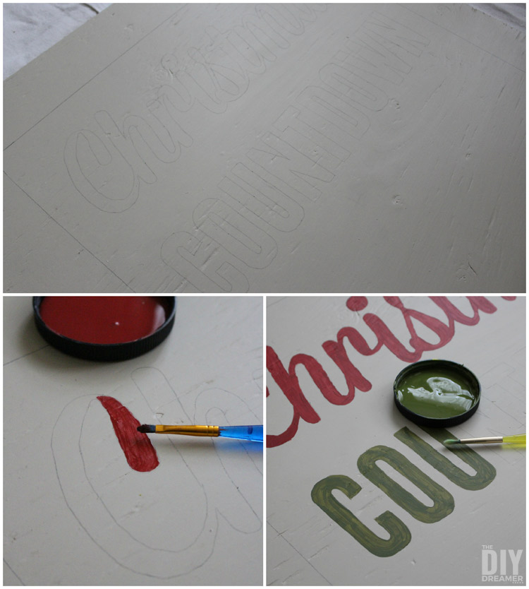 Paining the Christmas Countdown Sign