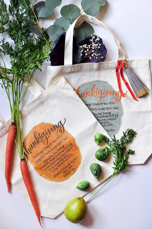 Thanksgiving Menu Iron On Tote Bag