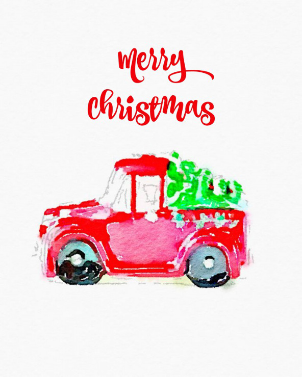Christmas Trees on Cars Free Watercolor Printable