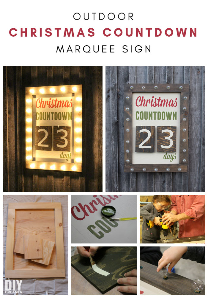 Giant Outdoor Christmas Countdown with Lights, over 3 feet tall. What better way to countdown to Christmas than with a Giant Outdoor Christmas Countdown Marquee Sign. Check out the tutorial to make one too! #christmascountdown #diychristmas #daysuntilchristmas #outdoorchristmas