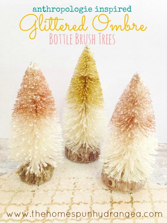 DIY Anthropologie Inspired Ombre Bottle Brush Trees