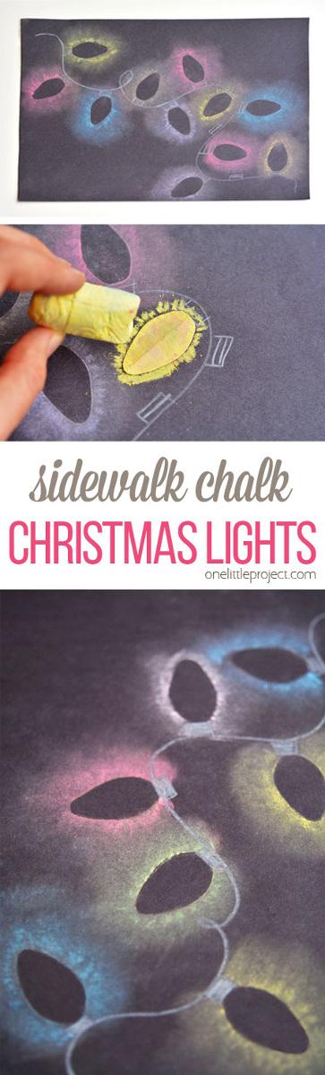 Stenciled Sidewalk Chalk Christmas Lights