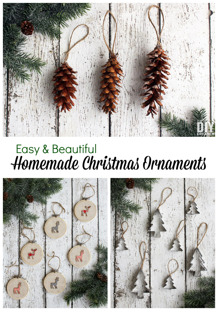 Easy and Beautiful Homemade Christmas Ornaments. Not only are these Christmas ornaments easy to make, they are also inexpensive to make. Create memories with your family, make homemade ornaments! thediydreamer.com