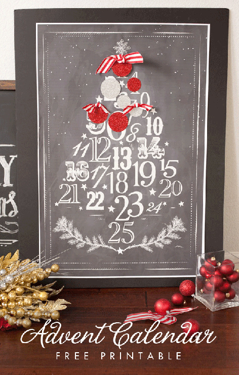 Chalkboard Advent Calendar Free Printable Poster