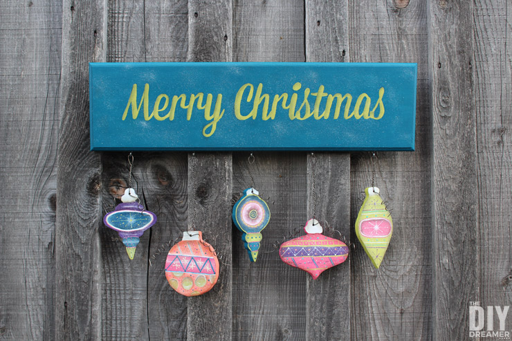 Painted Merry Christmas Sign with Hanging Ornaments
