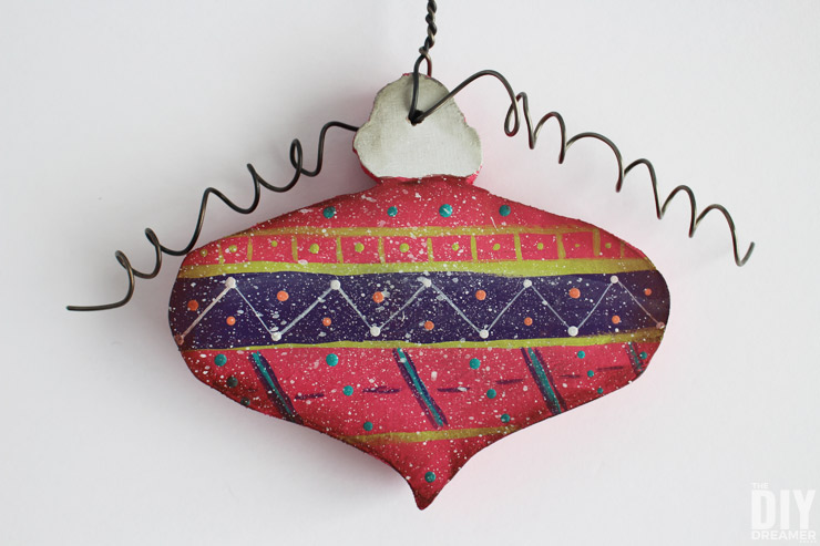 DIY Painted Wood Ornaments. These are attached to a Merry Christmas Sign!