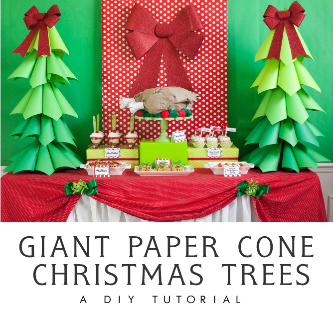 Giant Ombre Paper Cone Christmas Trees