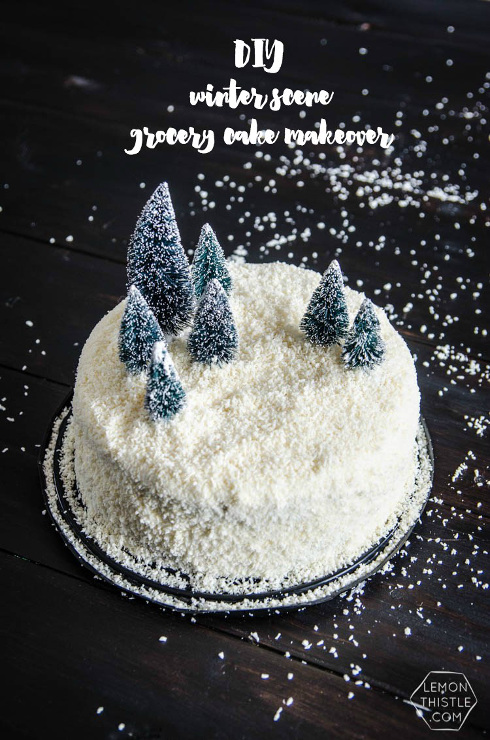 DIY Winter Scene Cake Makeover. Coconut Cake