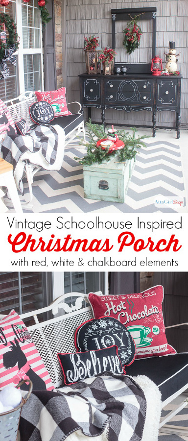 Schoolhouse Inspired Vintage Christmas Decorations On the Porch