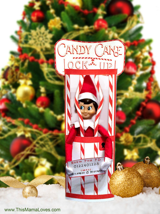 Elf on the Shelf Idea: Candy Cane Jail