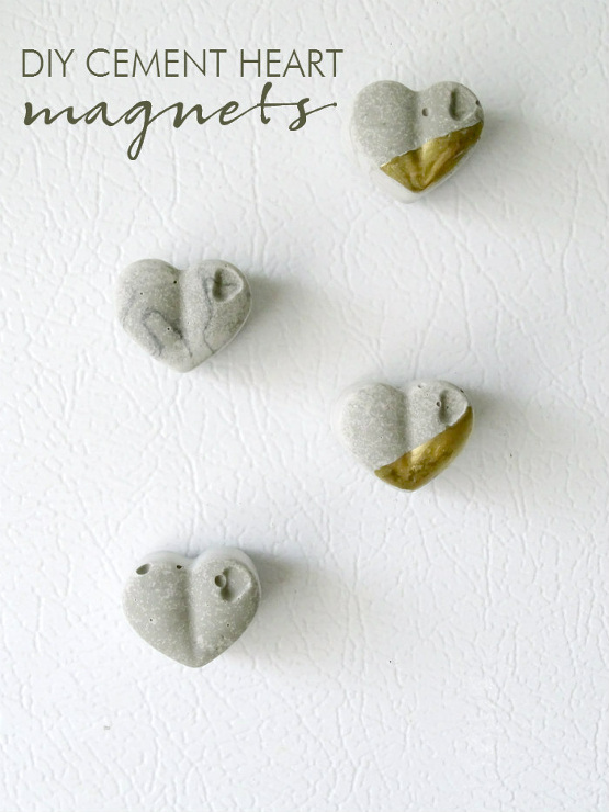 DIY Cement Heart Magnets