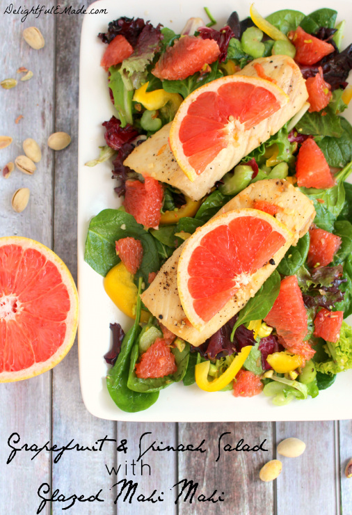 Grapefruit and Spinach Salad with Glazed Mahi Mahi