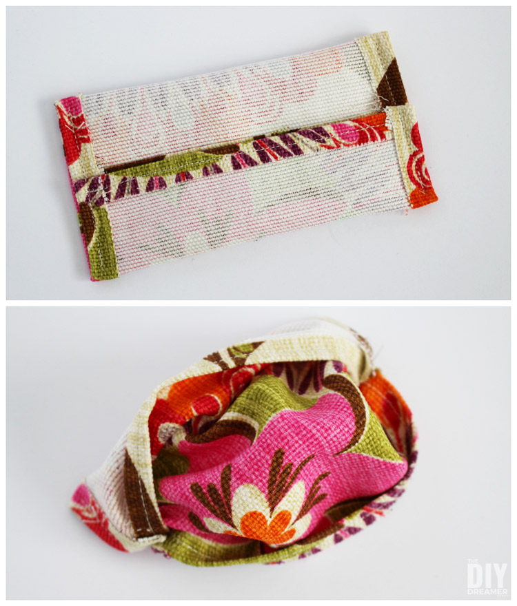 Turn fabric inside out to make tissue pouch.