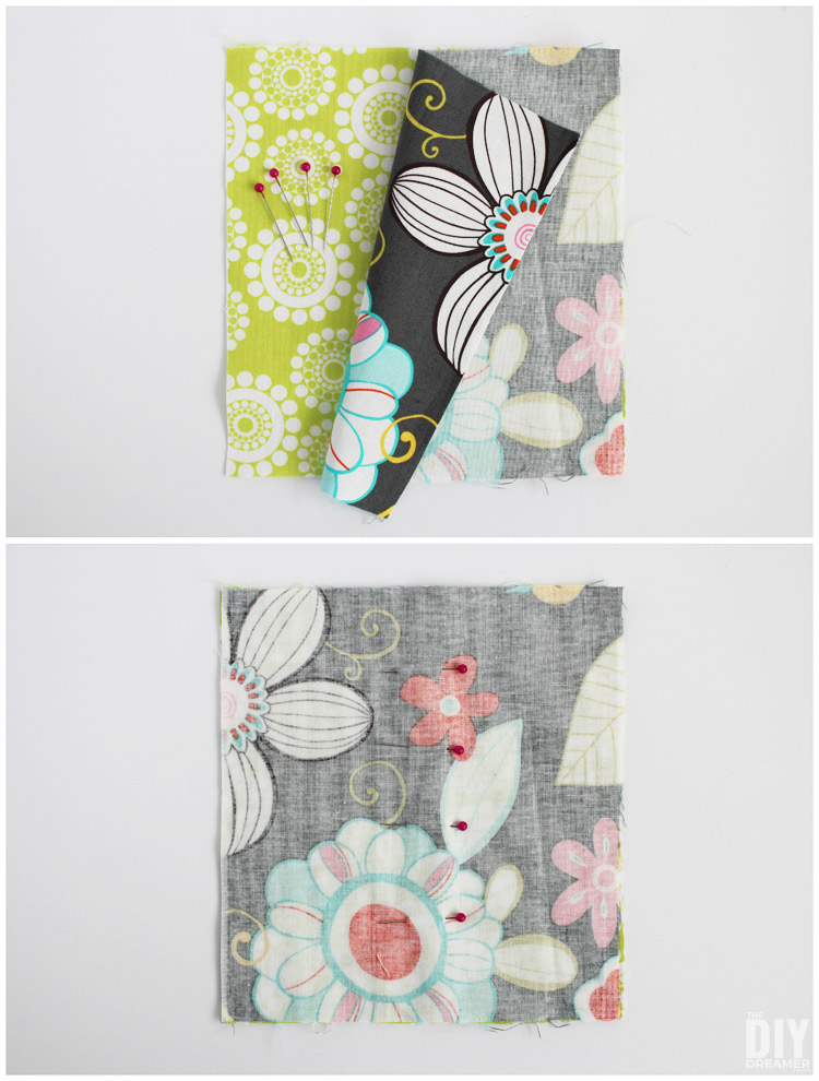 Place fabrics right sides facing each other.