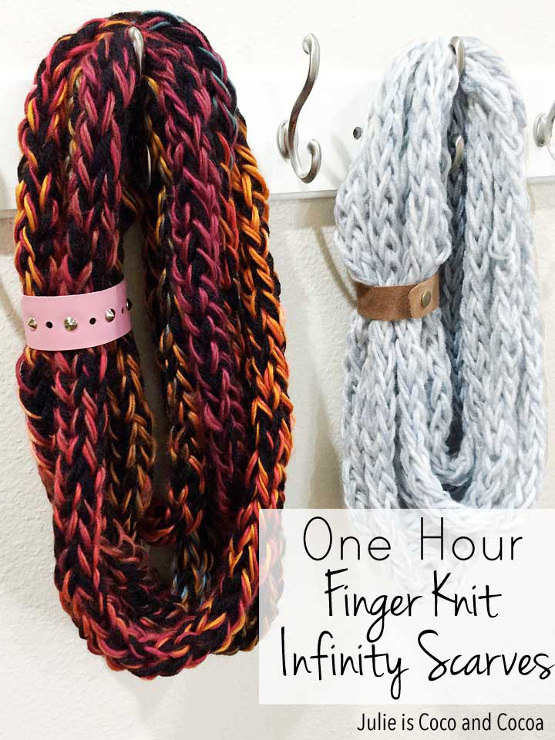 One-Hour Finger Knit Infinity Scarves