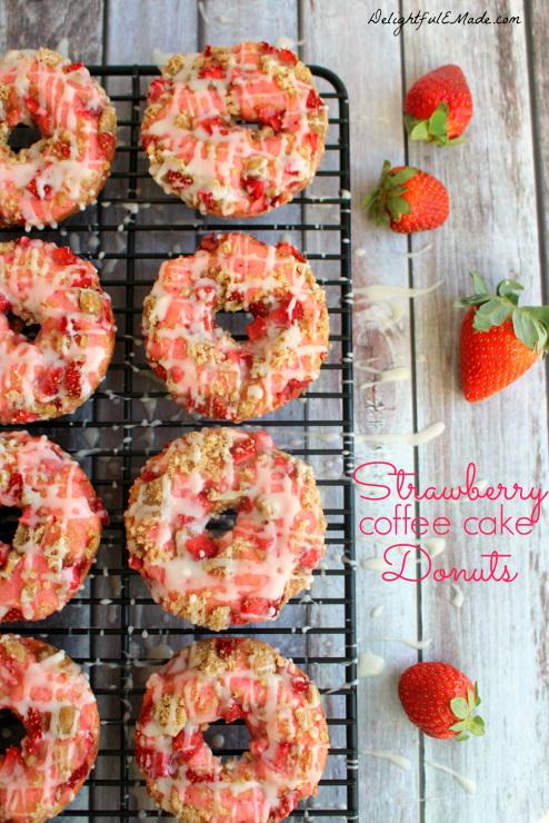 Strawberry Coffee Cake Donuts