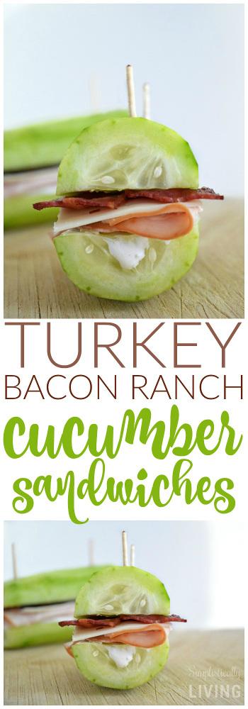 Turkey Bacon Ranch Cucumber Sandwiches