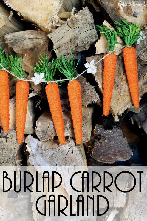 Burlap Carrot Craft Garland for Spring