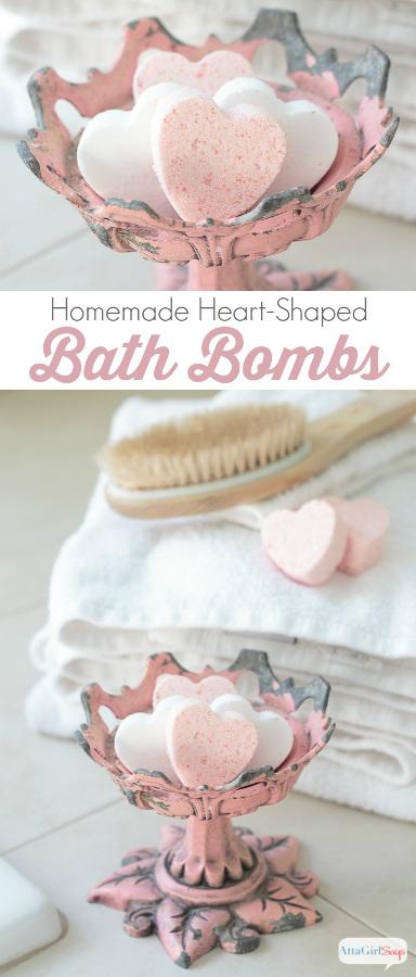 Love Potion Heart Homemade Bath Bombs