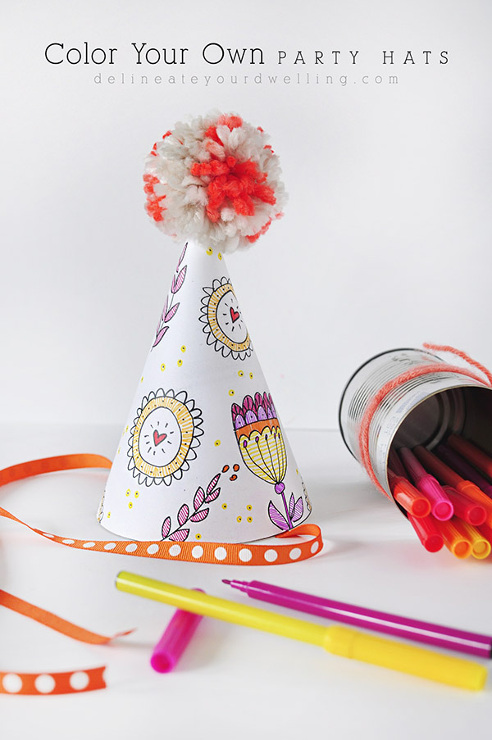 Color Your Own Party Hats