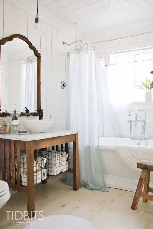 Beautiful Cottage Bathroom. Such a beautiful bathroom makeover.