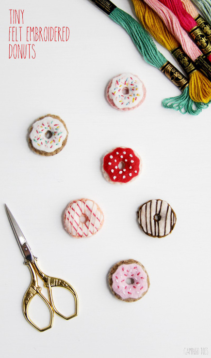 Tiny Felt Embroidered Donuts