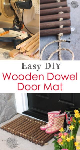 Easy DIY Wooden Dowel Doormat