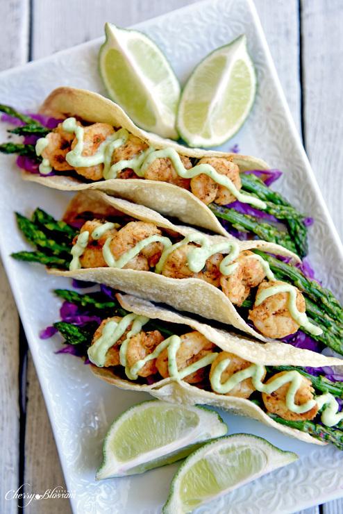 Fajita Shrimp and Asparagus Tacos