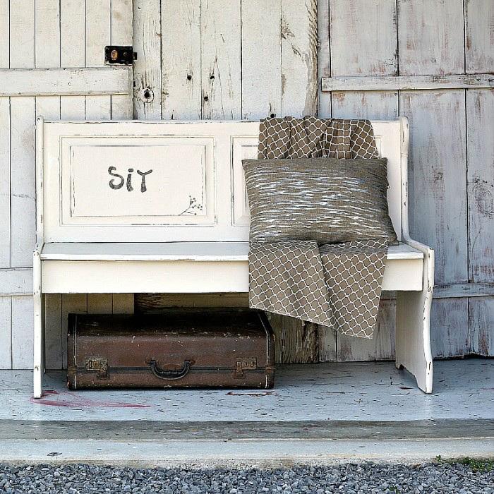 White Distressed Farmhouse Bench