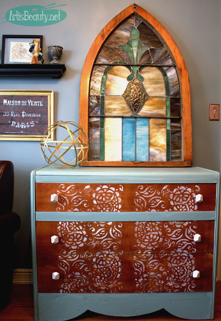 Mint and Paisley Lace Farmhouse Style Dresser