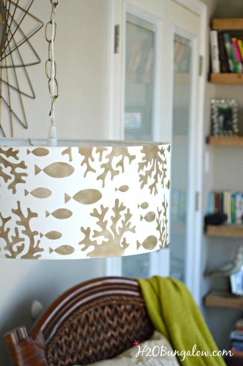 Stenciled DIY Hanging Pendant Light