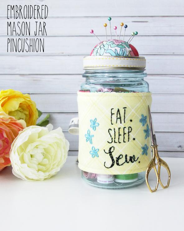 Embroidered Mason Jar Pincushion