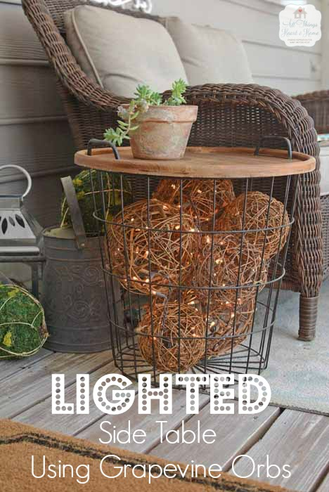 Lighted Grapevine Balls Side Table