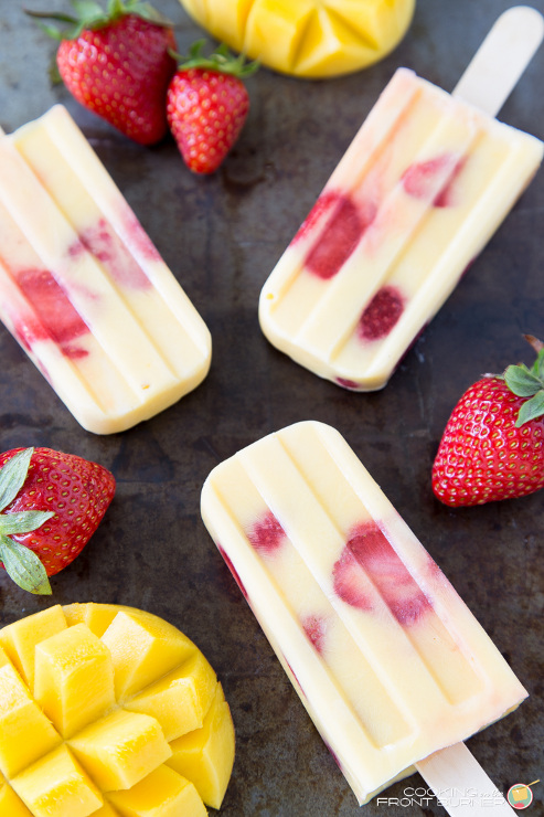Mango Strawberry Yogurt Popsicles