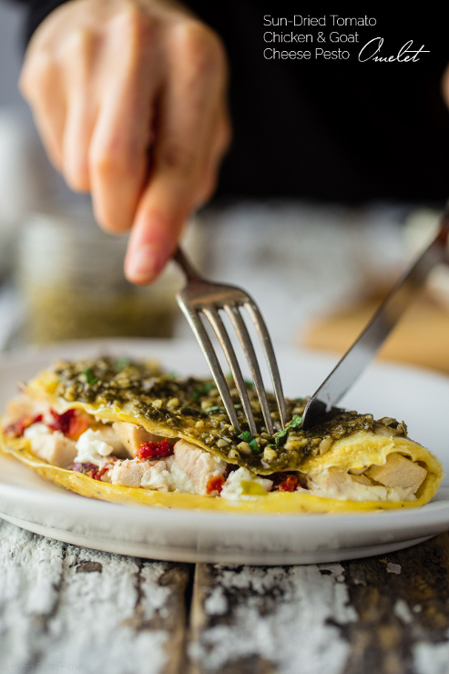 Pesto Egg White Omelette Goat Cheese