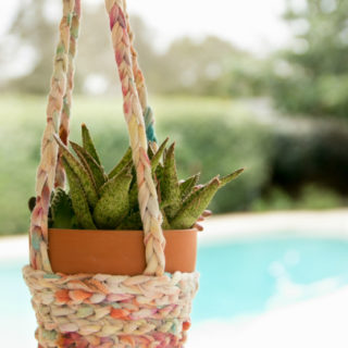 Tie-Dye T-Shirts Turned Boho Hanging Baskets