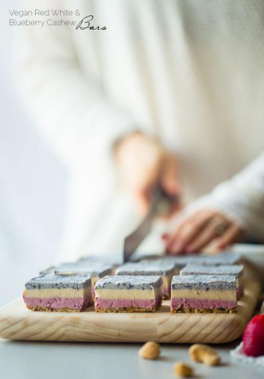 Berry Cashew Cream No Bake Bars