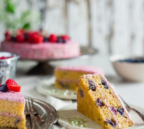 Blueberry Paleo Cake with Raspberry Coconut Cream