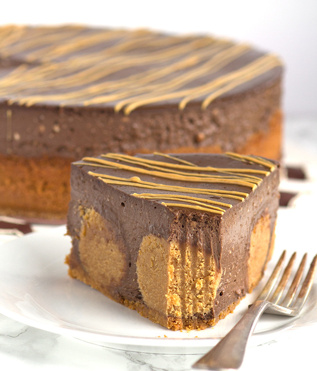 Chocolate Peanut Butter Ball Cheesecake