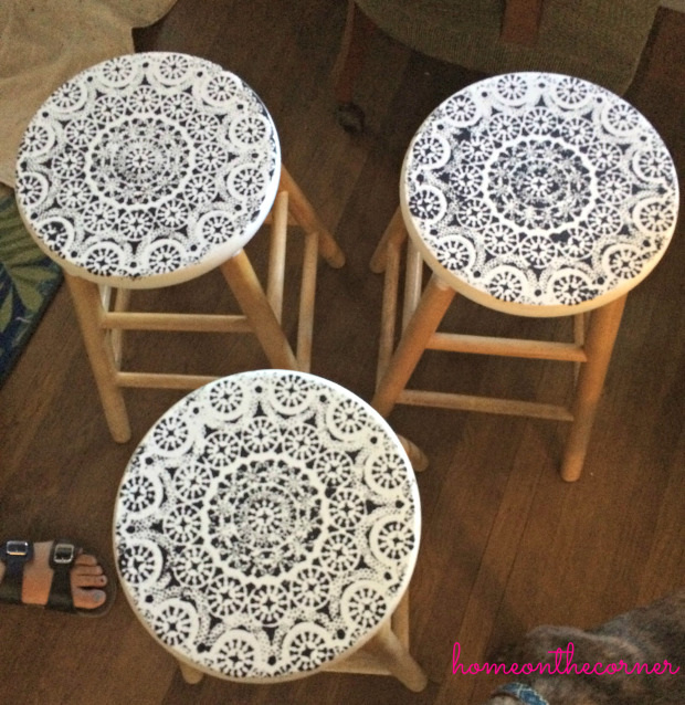 Stenciled Barstools with lace.