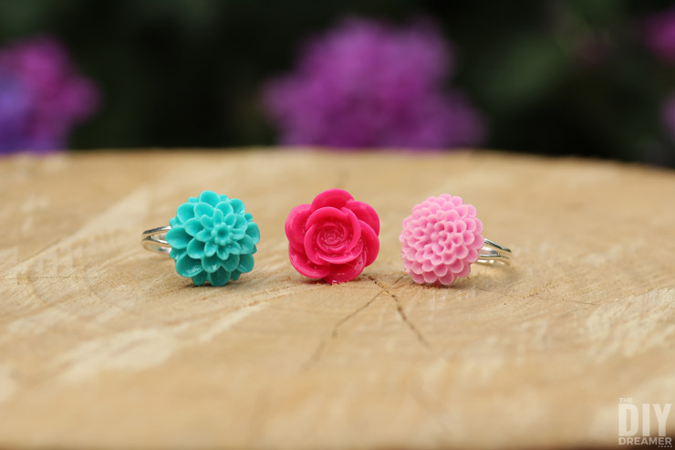 This Is Such Easy To Make Rings How Diy Flower Cabochon