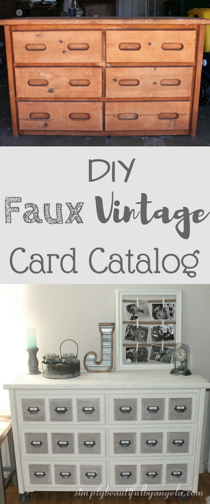 DIY Faux Vintage Card Catalog from an Old Dresser