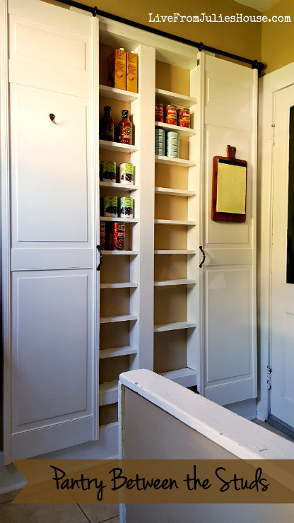 Pantry Between The Studs! Looking to add a pantry to your kitchen but lack the room? How about building one between the wall studs?! Such a great idea!
