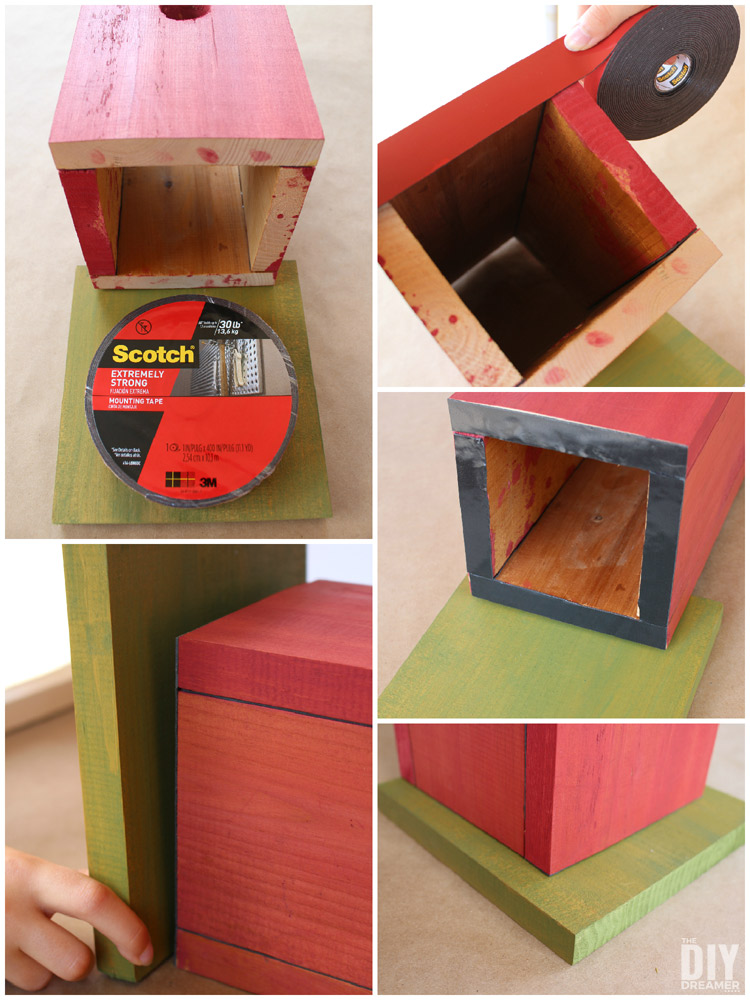 Putting together a birdhouse with Scotch® Extreme Mounting Tape